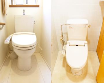 手洗い器が付いているトイレ、フタだけのトイレ