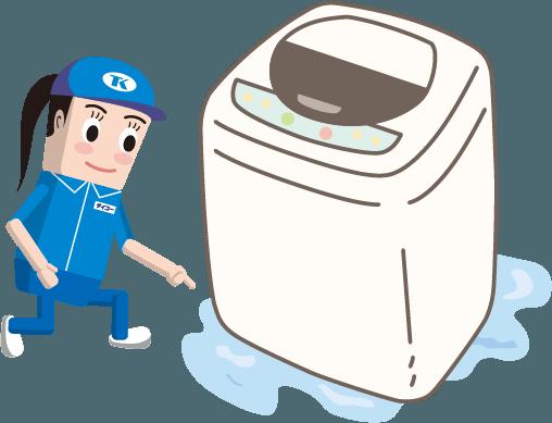 洗濯機排水口付近の漏水の図